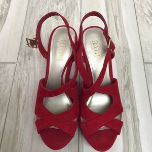 Red Open Toe Wedges!!